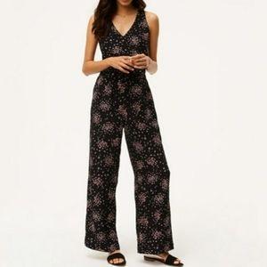 Loft Black Floral Print Jumpsuit, Size: Large Tall